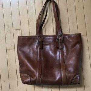 Coach brown leather handbag, classic tote